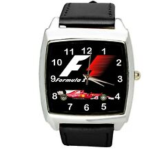 FORMULA ONE F1 RACING BLACK BAND CAR TUNNING Stainless Steel SQUARE WATCH