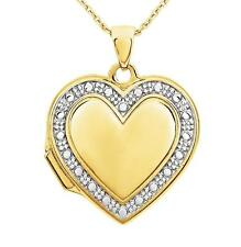 Gold Heart Shape Locket 14K Yellow Gold w/ White Gold Bead Detail Holds 2 Photos