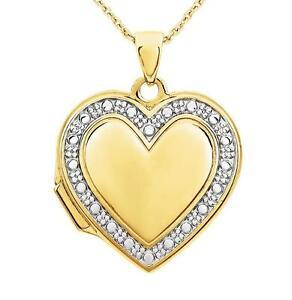 Gold Locket 14K Yellow gold Heart & White gold Bead Detail Keepsake Pendant