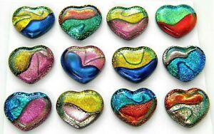 ASSORTED MULTI COLORS Lot 12 pcs HEART DICHROIC FUSED GLASS (X22) HANDMADE CABS