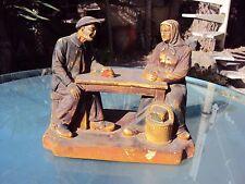 statue en plâtre polychrome  vieux de Lourdes signée L .PENE et fils LOURDES