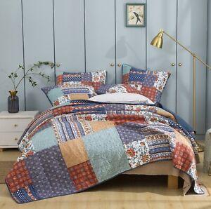 DaDa Bedding Cotton Bohemian Rustic Floral Blue Orange Patchwork Bedspread Set