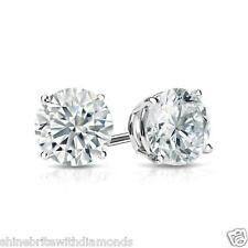 1 Ct Round Earrings Studs Solid 950 Platinum Brilliant Cut Basket Screw Back