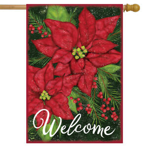 """Holiday Poinsettia Christmas House Flag Welcome Floral 28"""" x 40"""" Briarwood Lane"""