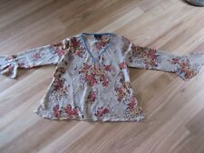 LADIES CUTE SHEER BROWN FLORAL POLYESTER LONG SLEEVE TOP BY KATIES SIZE 16 CHEAP