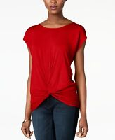 INC Women's Knit Top Real Red Size Large L Twist-Front Scoop-Neck $39 #509