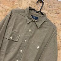 Polo Ralph Lauren Mens Vintage Long Sleeve Shirt MEDIUM Brown Regular Fit