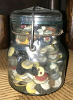 Vintage Atlas Glass Jar E-Z Seal Full Of Buttons Decoration