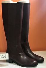 Halston Brown Gored Tall Shaft Boots Naomi Stacked Heel Side Zipper size 8 M New