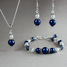 Vintage midnight blue white pearl silver wedding bridesmaid bridal jewellery set