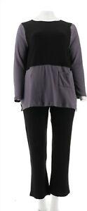 Carole Hochman Extra Brushed Tunic Pant Set Black Truffle M NEW A310273