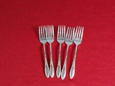 Set of  5 VINTAGE Wm A. Rogers 1960 Ribbon Rose Salad Forks