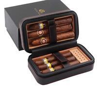 Genuine Leather Spanish Cedar Cigar Humidor Humidifier Box Travel Case 6 Count