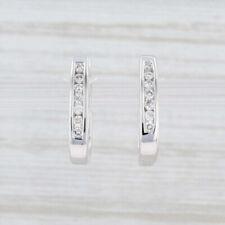 Diamond Hoop Huggie Earrings 14k White Gold Snap Top Pierced