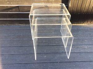 Clear acrylic plastic modern nest of tables