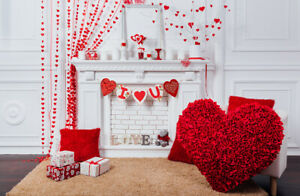 Valentine's Day Fireplace Red Heart Gifts 7x5ft Backdrop Vinyl Photo Background