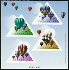 HOT AIR BALLOONS = FRONT BK page of 4 TRIANGLE SHAPE Canada 2001 #1921a-d MNH