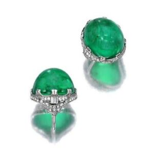 Green Cabochon 925 Sterling Silver Art Deco Style Round CZ Solid Ring for Women