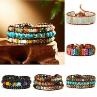Fashion Women 7 Chakra Natural Stone Braided Beads Bracelet Wrap Bangle Jewelry