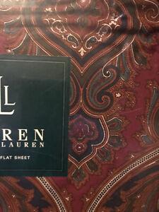 NIP Sealed Ralph Lauren TWIN Flat Sheet PARKER Paisley Navy Hunter, Ivory, Red