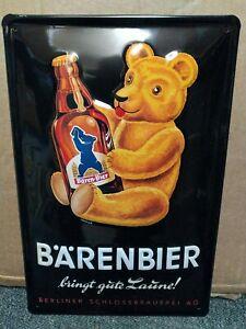 BARENBIER BERLIN BEER: EMBOSSED 3D METAL ADVERTISING SIGN 30x20cm BROWN BEAR