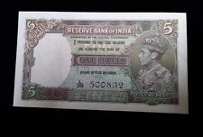 1943 India Nd 5 Rupees Banknote