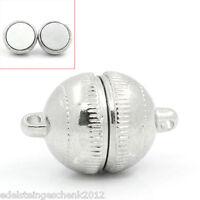 5 Sets Silberfarbe Halbkreis Magnetverschluss Verschluss 19x12mm
