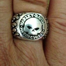Harley-Davidson Sterling Silver Willie G Skull Ring Tribal Flames Size 6 Unisex