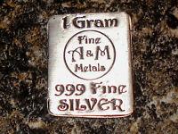 Silver Bar 1 Gram  NO RESERVE  .999 Fine A&M Metals Pure Investment Bullion
