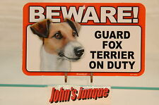 Fox Terrier~Beware Dog Sign~Laminated Card~New~Scandical~Free Us Shipping~