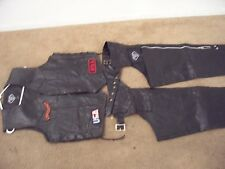 DIAMOND PLATE BUFFALO LEATHER BIKER VEST & CHAPS SUPER NICE lower priced
