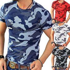 RMK uomo maglietta Abbigliamento da discoteca Shirt Estate Mimetico Esercito