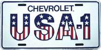 Chevrolet USA-1 Embossed Metal License Plate / Sign