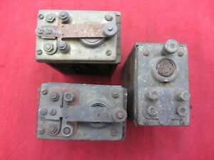 (3) VTG ANTIQUE FORD MODEL T A BRASS TOP IGNITION COILS BUZZ BOX AS IS UNTESTED