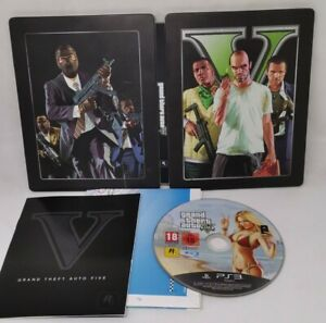 Grand Theft Auto 5 PS3 Game Black Steel Book Edition with Map Manual Rockstar