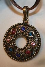 Handsome Brasstone Rope Rimmed Square & Rhombus Rhinestone Pendant Necklace