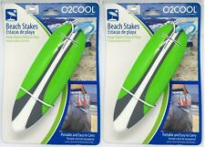O2Cool Two (2) Sets of 4 Ea Beach Stakes for Towels Surfboard Green