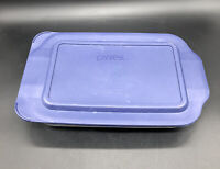 PYREX #232 Clear Glass 2 Qt. BAKING/CASSEROLE DISH with blue plastic lid