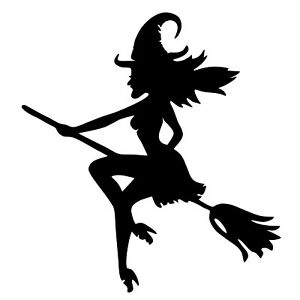 HALLOWEEN SPOOKY BROOM SCARY WITCH BLACK VINYL STICKERS DECAL X 4