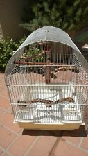 Small white Bird Cage with Tree Branch Perches + Mirror + Toy Bells!