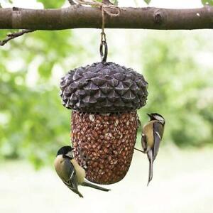 BIRD FEEDER OUTDOOR HANGING ACORN SHAPED GARDEN PATIO TERRACE TREE MESH HANGER