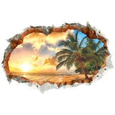 3D DIY PVC Sunset Landscape Beach Removable Window Sticker Art Room Decor Poster