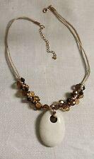 "Vintage White Cord Plastic Bead White Turquoise Stone Oval Pendant 20"" Necklace"