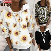 Women's Printed Hoodies Ladies Hooded Sweatshirt Casual Long Sleeve Blouse Tops