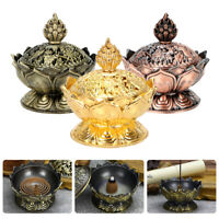 Chinese Lotus Incense Burner Holder Flower Statue Censer Room Decoration LAC~