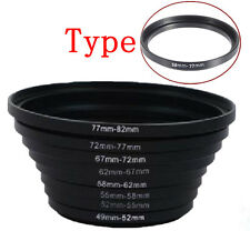 New Metal 58mm-77mm Step Up Ring Lens Filter Ring Stepping Adapter Black 58-77mm