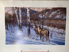 Blue Wax Trail Whitetail Deer print by Michael Sieve