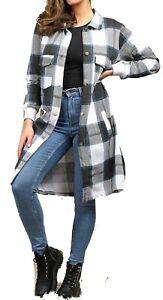 Women  Fleece Oversize Baggy Check Print Jacket Shaket Top Shirt Coat Dress WJ35