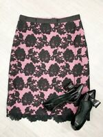 Hobbs Invitation Lace Skirt ladies Black And Pink Mix Occasion Sz 10 UK 38 EU