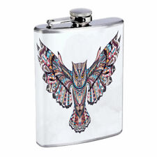 Artsy Owl Em1 Flask 8oz Stainless Steel Hip Drinking Whiskey